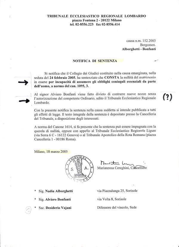 21. Tribunale ecclesiatico Lombardo. Sentenza senza contradditorio