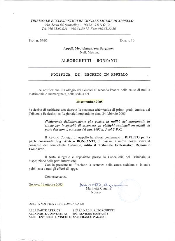 22. Tribunale ecclesiatico Ligure. Altra Sentenza senza contradditorio