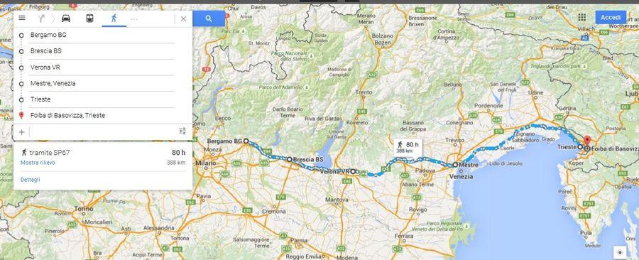 1^ Tappa Bergamo Trieste