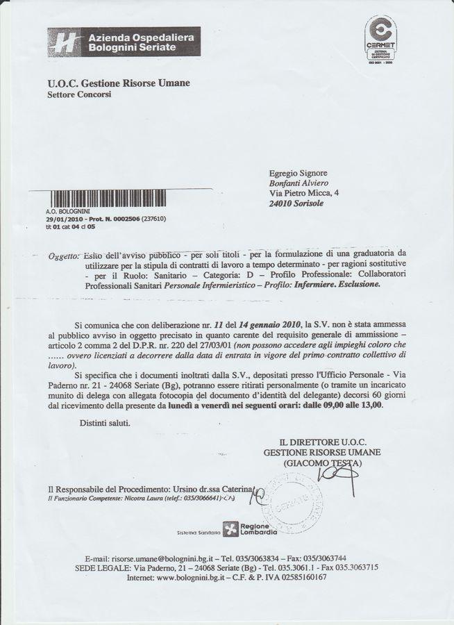 001 NON AMMISSIONE PUBBLICO SERVIZIO